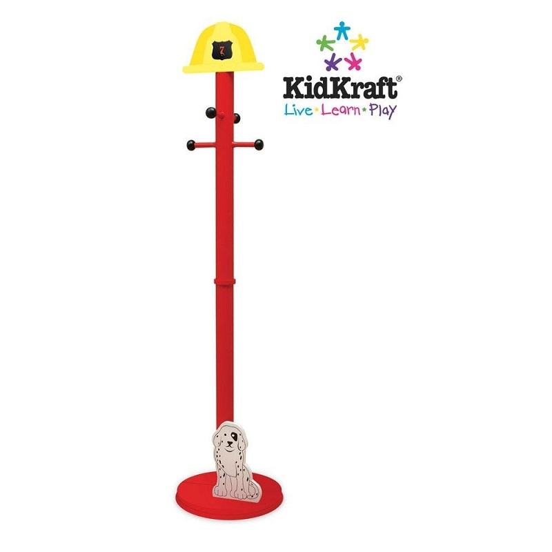 KidKraft Firetruck Clothes Pole with fireman's helmet on top and dalmatian puppy at the base. Made From Wood.