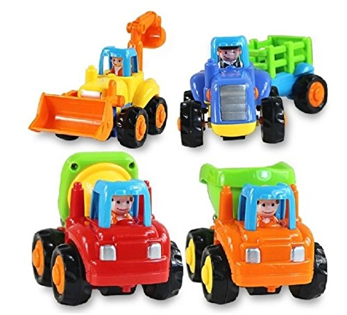 Friction Powered Push & Play Dump Truck, Cement Mixer, Bulldozer And Tractor