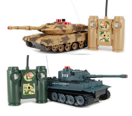 Set of 2 Full Size Infrared Remote Control RC Battle Tanks