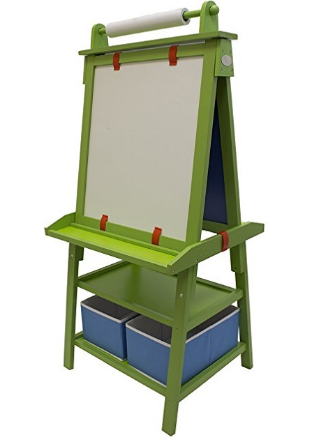 2-Sided Easel For Toddlers with Chalk Board, Storage, Paper Feed and Accessories by Little Partners