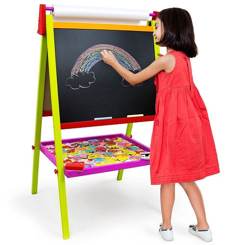 3-in-1 Standing Easel with 75 Magnetic Letters, Rainbow Chalk, Eraser, and Easel Paper by Imagination Generation