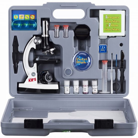 AMSCOPE-KIDS M30-ABS-KT2-W Microscope Kit with 52 piece accessory set