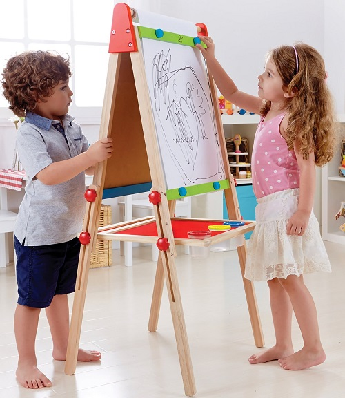 All-in-One Wooden Kid's Art Easel with Paper Roll and Accessories by Hape