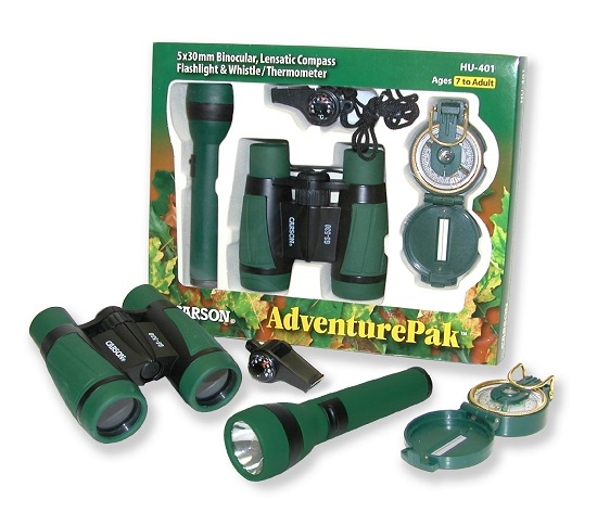 Carson AdventurePak Binoculars for kids, Compass, Flashlight, Whistle & Thermometer
