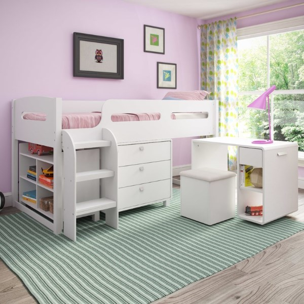 Deion Twin Loft Bed with Desk and Storage - Cool Bunk Beds For Girls
