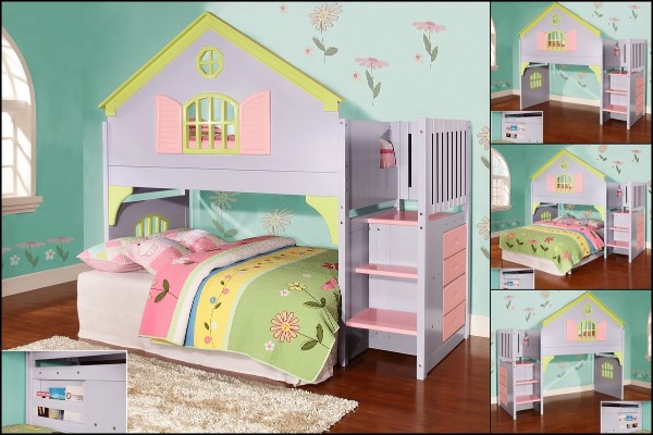 Dollhouse Twin Over Twin Bunk Bed - Cool Bunk Beds For Girls