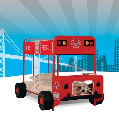 Fire Truck Twin over Twin Bunk Bed - Cool Bunk Beds For Boys