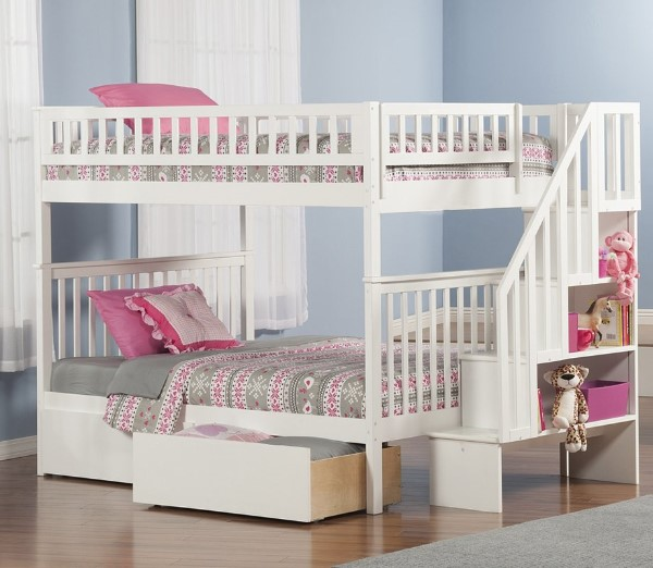 Shyann Bunk Bed with Storage - Cool Bunk Beds For Girls #bunkbeds